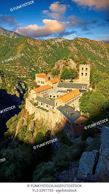 The First or Lombard Romanesque style Abbey of Saint Martin-du-Canigou in the Pyrenees, Orientales department, France