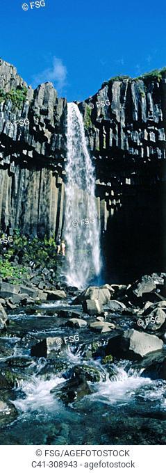 Svartifoss Waterfall and basaltic columns. Skaftafell National Park. Iceland