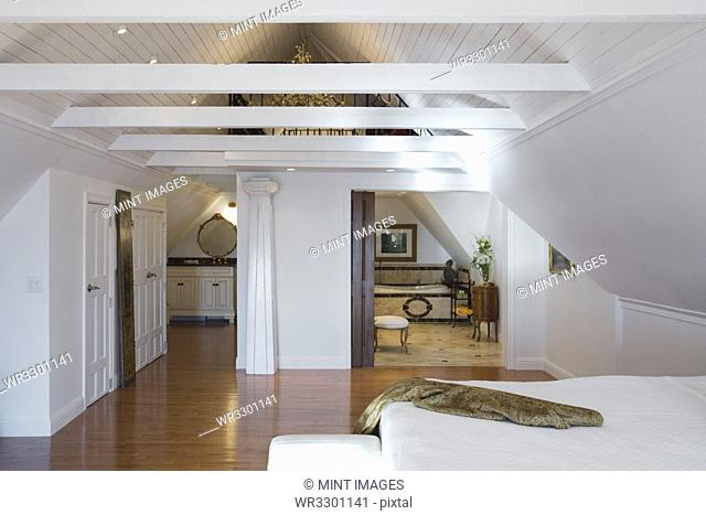 Wooden beams in master bedroom