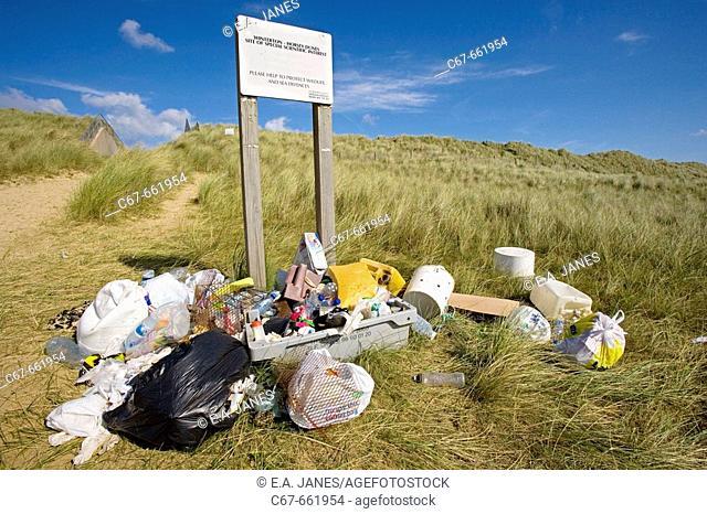 Rubbish from Winterton Beach. Norfolk. UK. September