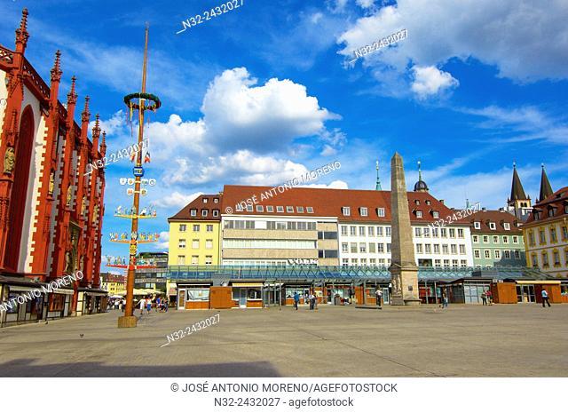 Wurzburg, Market square, UNESCO World Heritage Site, Romantische Strasse Romantic Road, Franconia, Bavaria, Germany, Europe