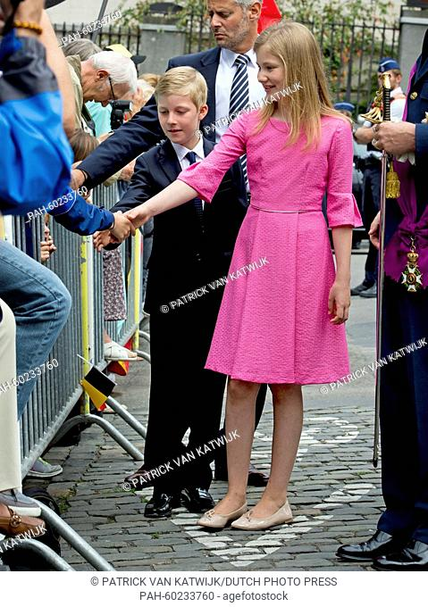 Crown Princess Elisabeth and Prince Emmanuel of Belgium after the Te Deum mass at the Cathedral of St. Michael and St. Gudula in Brussels, Belgium, 21 July 2015