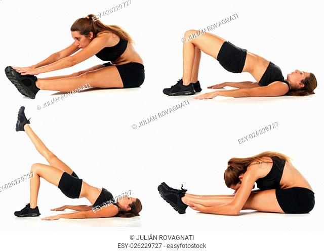 Fitness collage. Young woman doing exercise and stretching over white