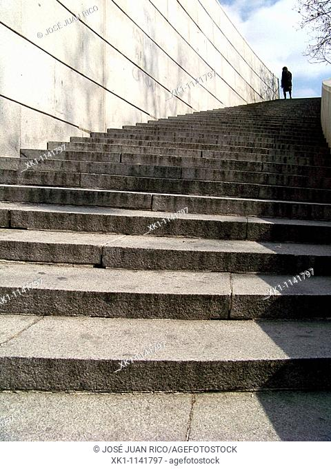 Stairs in the Puerta de Toledo, Madrid, Spain