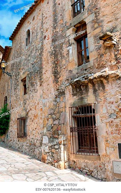 Old stone wall, Peratallada, Spain