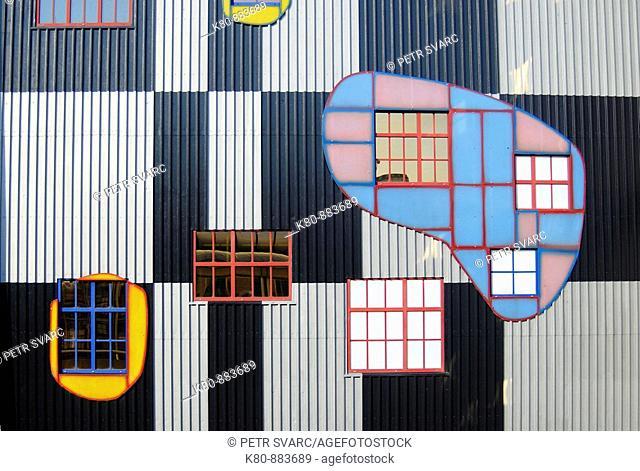 Corrugated-Iron Facade of Spittelau Incinerator Plant in Vienna, Austria, Designed by Eccentric Artist Friedensreich Hundertwasser