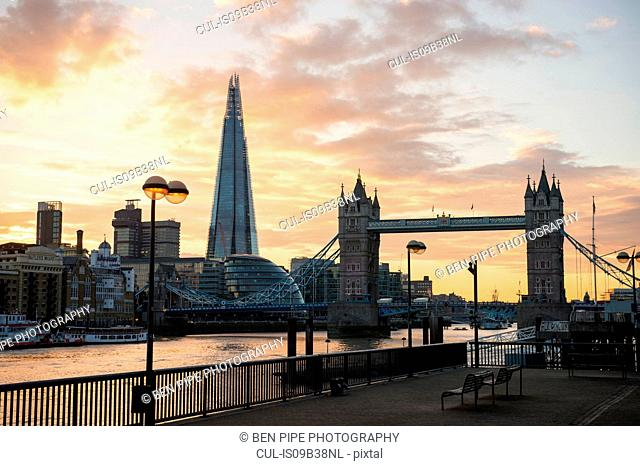 Tower Bridge, The Shard and City Hall, Wapping, London, UK