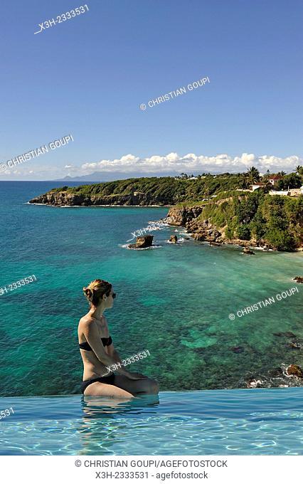 swimming pool of ''La Toubana'' hotel and spa, Sainte-Anne, Guadeloupe, overseas region of France, Leewards Islands, Lesser Antilles, Caribbean