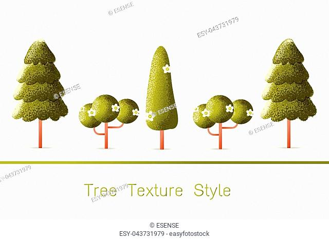 Set of Green Forest, trees and bushes on white background Vector texture style concept illustration