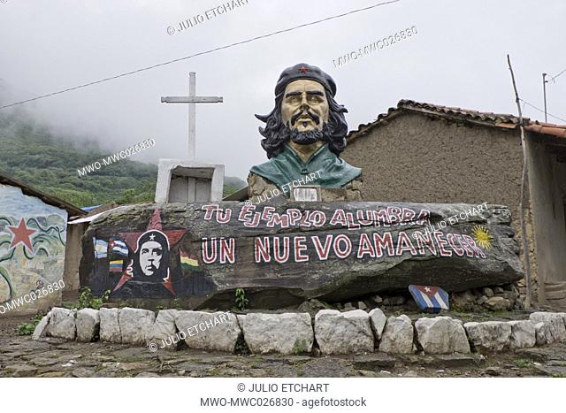 Bust of Che Guevara in La Higuera, Bolivia, where he was killed after being taken prisoner 50 years ago on 8 October 1967