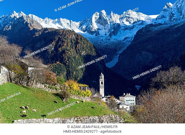 Switzerland Bregaglia, Soglio, Canton of Grisons and in the background the Sciora and Badile peaks
