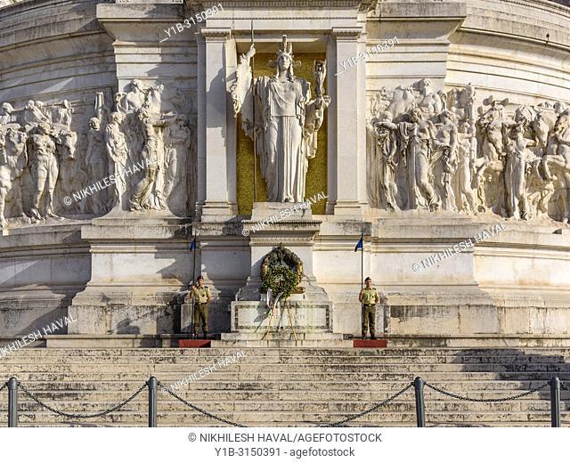 Goddess Roma, Eternal flame, Tomb of Unknown Soldier, Altare della Patria, Rome, Italy