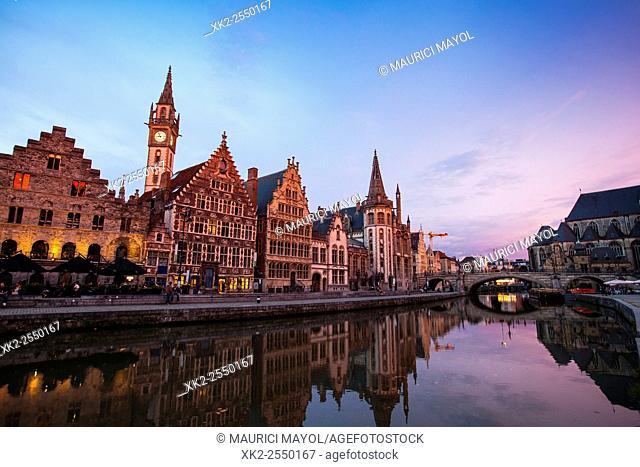 Dusk at Graslei, Ghent, Belgium
