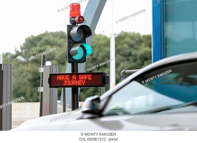 Signals at toll booth at bridge toll
