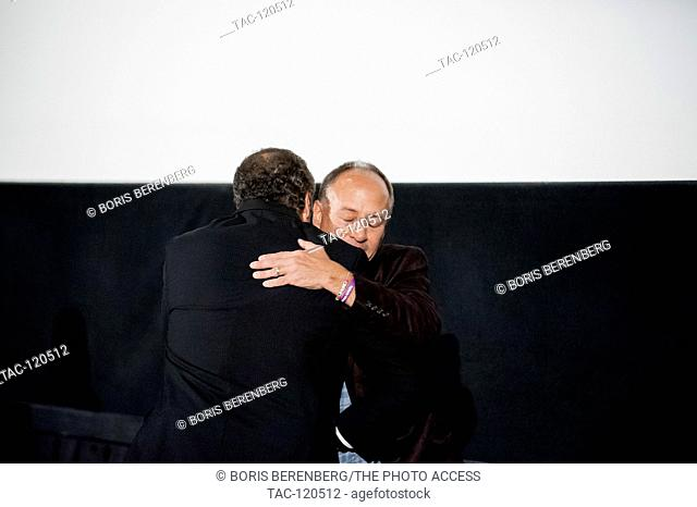 Governor Andrew M. Cuomo hugs Mark Barden at the premier of Newtown at the Landmark Sunshine Theater on October 7, 2016 in New York, New York
