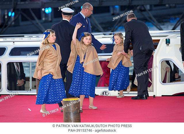 Crown Princess Amalia, Princess Alexia and Princess Ariane (L-R) arrive at the Muziekgebouw Aan't IJ after the King's Sail in Amsterdam, The Netherlands