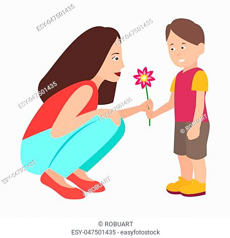 Son presenting flower to his adorable mother vector illustration. Boy gives blooming blossom to woman, preschool kid isolated on white background