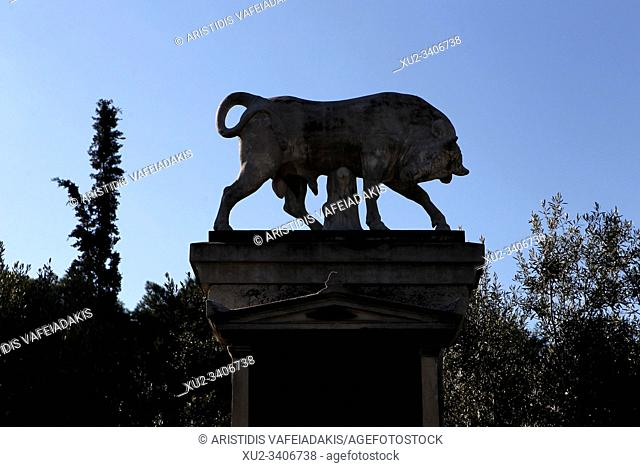 Modern replica of the burial monument of Dionysios of Kollitos in Archaeological Site of Kerameikos in Athens Greece. Kerameikos is one of the most important...
