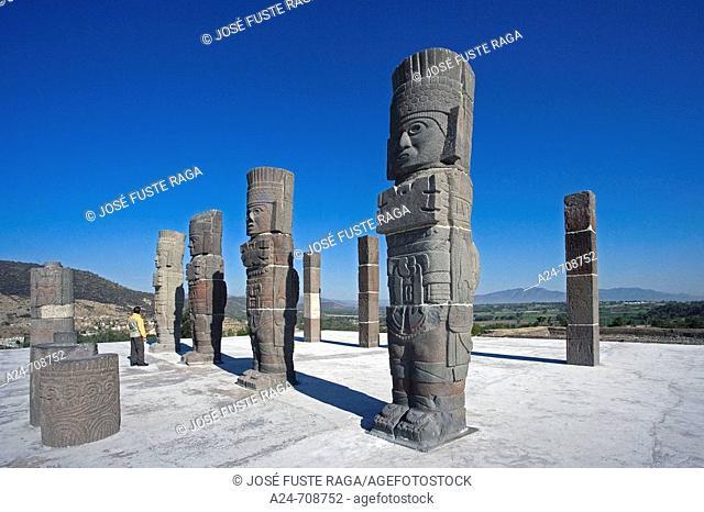 Tula City. Arqueological Area. Quetzalcoatl Temple. The Atlantes Statues. Mexico