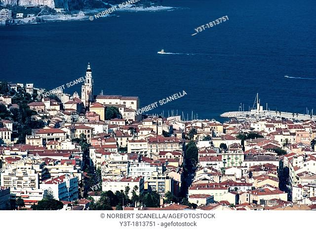Europe, France, Alpes-Maritimes, Menton 06, the old city with the Saint-Michel church and its bell tower