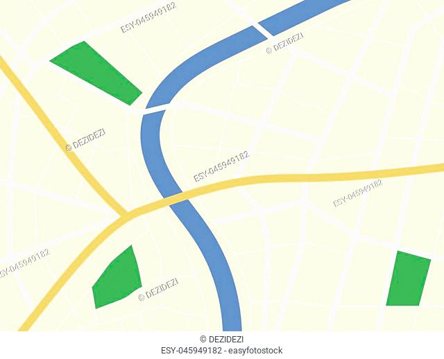 City GPS map background with river and roads