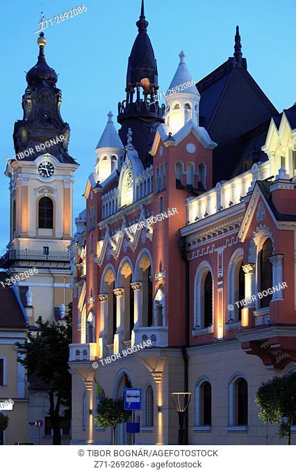 Romania, Crisana, Oradea, Piata Unirii, City Library, St Nicholas Church,