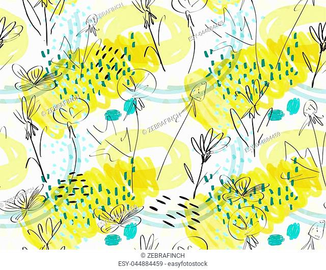 Roughly sketched dandelion flower yellow white.Creative abstract colorful seamless pattern. Tribal ethnic motives. Universal bright background for greeting...
