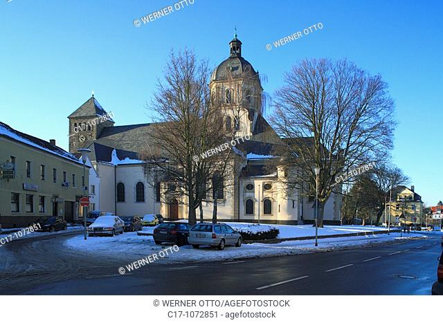 Germany, Wuerselen, Rhineland, North Rhine-Westphalia, parish church Saint Sebastian, catholic church, wintry, snow