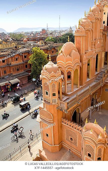 Siredeori Bazaar, from Hawa Mahal Palace of Winds  Jaipur  Rajasthan, India