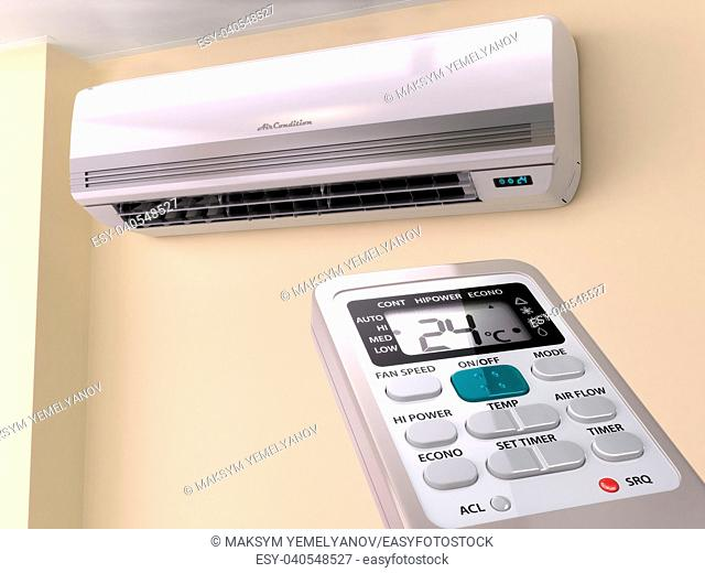 Remote control directed on air conditioner systrem. 3d