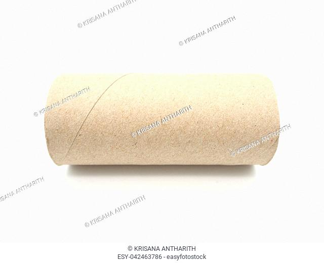 Tissue paper roll core. Empty roll on toilet paper isolated on a white background
