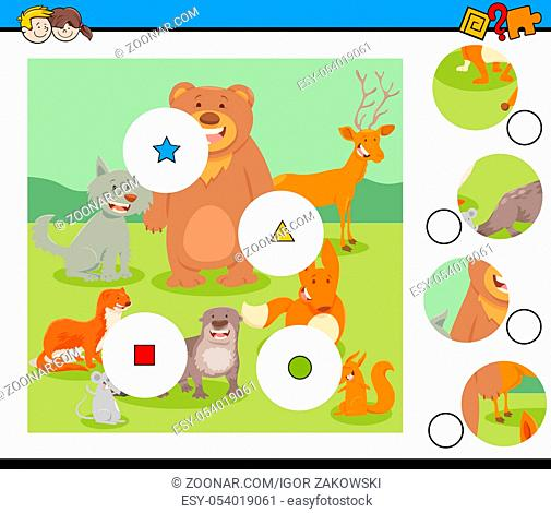 Cartoon Illustration of Educational Match the Pieces Jigsaw Puzzle Game for Children with Funny Animal Characters