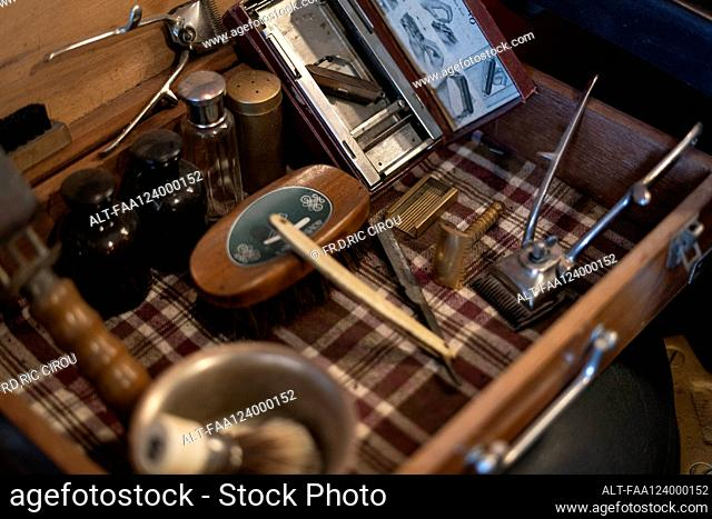 Hairdressing tools in barber case