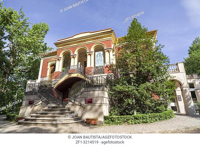 Public park, classic building Tower Castanys hosts Museum Volcanoes,Olot,Catalonia,Spain