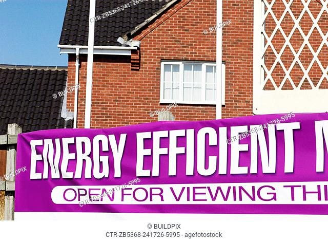 Advertising for energy efficient new homes, Great Yarmouth, Norfolk, UK