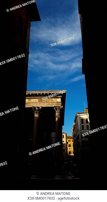 A side view of the Roman Pantheon from a side street. Rome, Italy