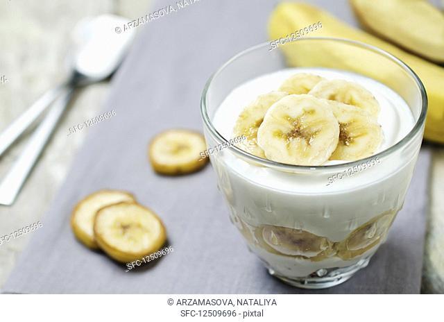 Banana yoghurt dessert in a glass