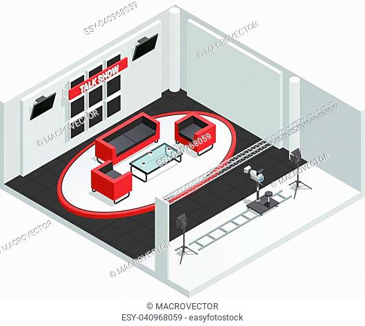 Video tv talk show studio isometric interior composition with furniture camera on rails and lighting kit vector illustration
