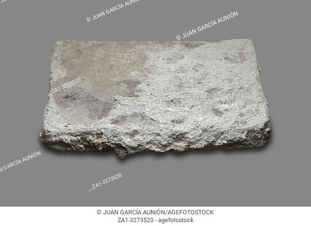 Roman flat-shaped brick. Isolated over gray background