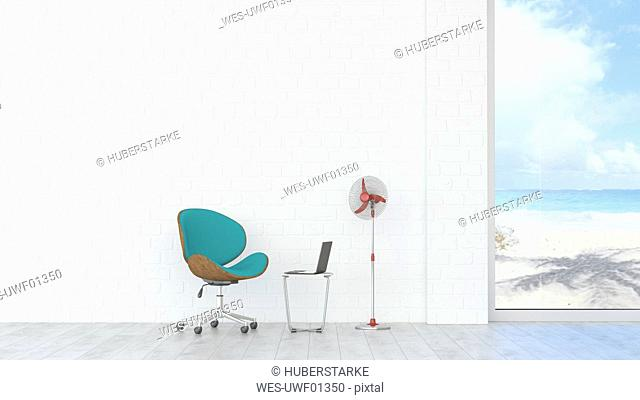 Office chair, laptop and fan with view to beach and sea, 3d rendering