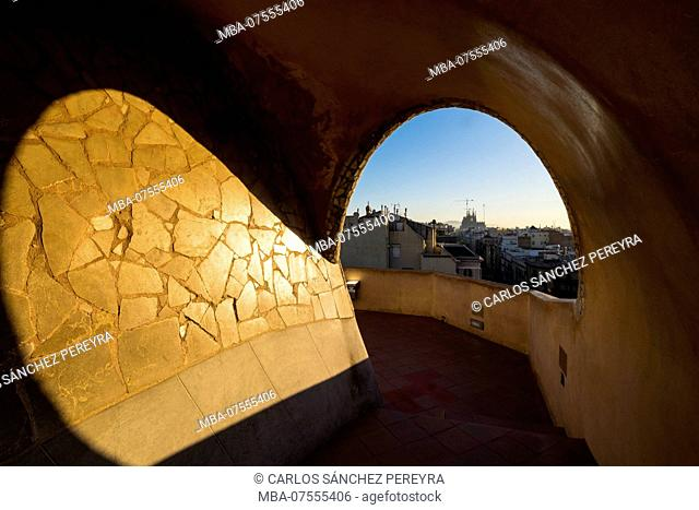 Roof of the Casa Mila (also known as La Pedrera) of the Catalan modernist architect Antoni Gaudi located on the famous Avinguda de Gracia street in the Eixample...