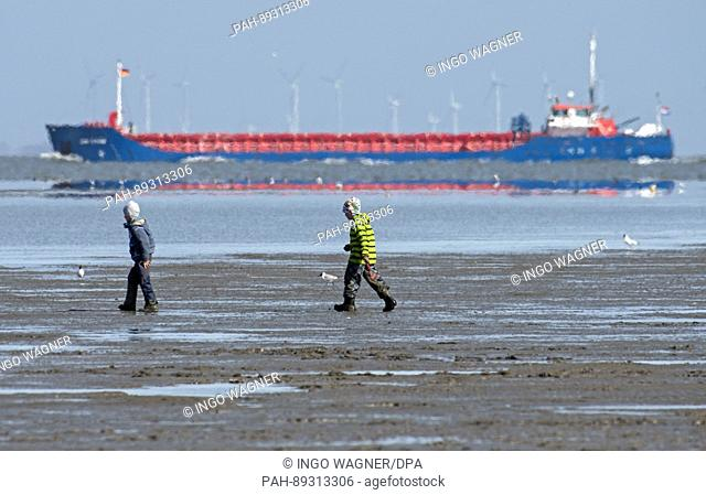 Two boys walk through the mud flats of the beach in Cuxhaven, Germany, 25 March 2017. In the background a freight ship can be seen heading towards the Baltic...