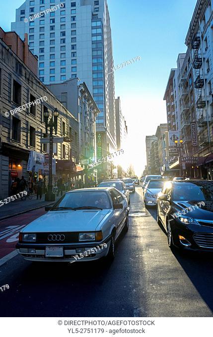 San Francisco, CA, USA, Downtown Street Scene , Sunset light effect