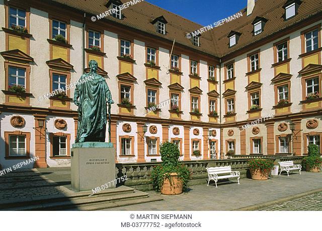 Germany, Bavaria, head franc, Bayreuth, Maximilian street, of alto  Palace, monument King Maximilian II., Construction, buildings, architecture, historically