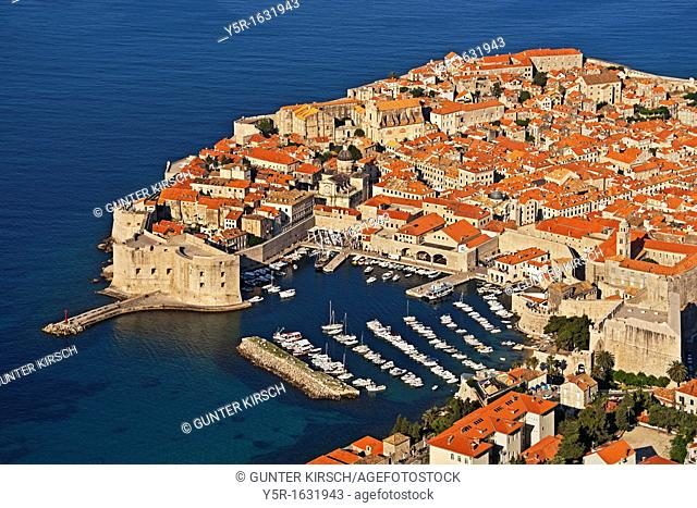 View of the Old Town of Dubrovnik, Revelin Fortress, the city port and St John Fortress Dubrovnik, Dalmatia, Croatia, Europe