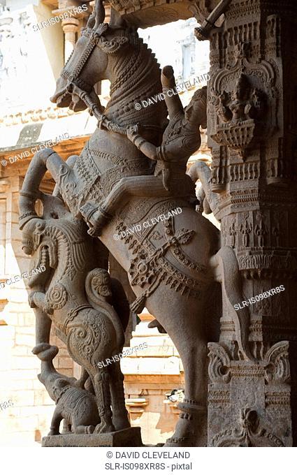 Guardian horse rider at Sri Ranganathaswamy temple, Trichy, Tamil Nadu