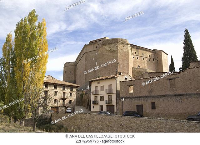 Autumn in Mora de Rubielos village Teruel, Aragon, Spain. The castle