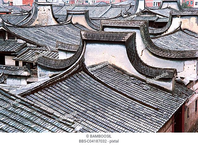 Roofs of ancient common people residences, Great Honglin Places, Mingqing County, Fujian Province of People's Republic of China