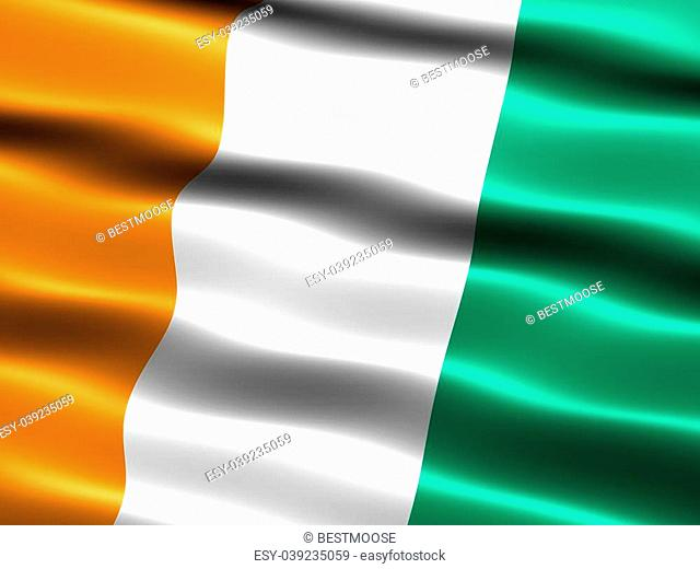 Flag of C�te d'Ivoire, computer generated illustration with silky appearance and waves
