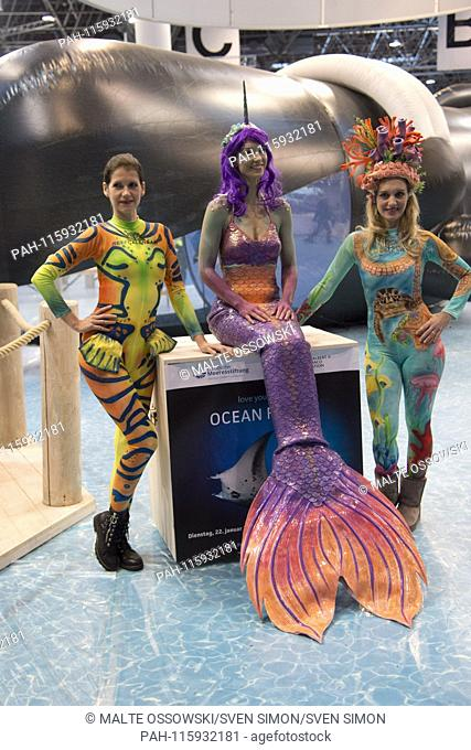 Models in costume will advertise at the booth of the Love Your Ocean Community for Marine Conservation, at Boat 2019, Boat Show 2019 in Duesseldorf from 19 to...